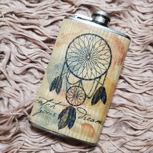 Dream Catcher Wood & Stainless Steel 5 oz flask